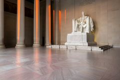 The Lincoln Memorial, Washington DC. The Lincoln Memorial indoors at Sunrise on the National Mall in Washington DC. USA Royalty Free Stock Image