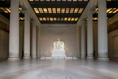 The Lincoln Memorial, Washington DC. The Lincoln Memorial indoors at Sunrise on the National Mall in Washington DC. USA Stock Photo