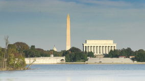 The Lincoln Memorial and Washington Monument. At the Potomac River in Washington, DC stock video footage