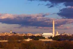 Lincoln Memorial, Washington Monument and US Capitol, Washington DC. Panoramic view of Lincoln Memorial, Washington Monument and US Capitol from the Iwo Jima Stock Photo