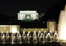 Lincoln Memorial and WWII Fountains. View of Lincoln Memorial from over World War II Memorial Fountains royalty free stock photos