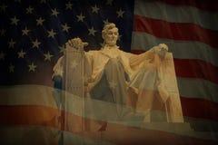 Lincoln minnesmärkeflagga Fotografering för Bildbyråer