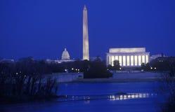 Lincoln, monumentos de Washington y capitolio de los E.E.U.U. Foto de archivo