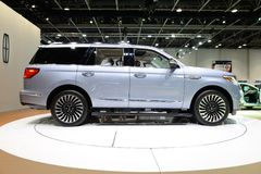 The Lincoln Navigator car is on Dubai Motor Show 2017 Stock Photo