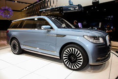 A Lincoln Navigator Conceptshown  at the New York International. NEW YORK - March 23: A Lincoln Navigator Conceptshown  at the New York International Auto  Show Royalty Free Stock Image