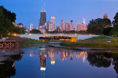 Lincoln Park, Chicago. Image of the Chicago downtown skyline at dusk. Lincoln Park in the foreground stock image