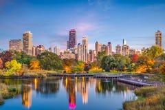 Lincoln park, Chicago, Illinois linia horyzontu zdjęcie stock