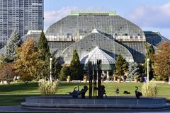 Lincoln Park Conservatory in the Fall. This is a Fall picture of the iconic Lincoln Park Conservatory located in Chicago, Illinois in Cook County. This glass stock photography