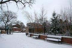 Lincoln Park med snö på vintern Royaltyfri Foto