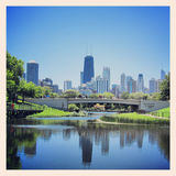 Lincoln park. View of Chicago skyline at Lincoln Park Stock Photography