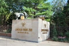 Lincoln Park Zoo Entrance, Chicago, Illinois. Lincoln Park Zoo is a free admission based Zoo, the Zoo is located in Downtown Chicago, Illinois near Lake Shore stock images