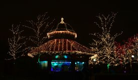 Lincoln Park Zoo Zoolights #18. This is a Winter picture of a concession stand decorated for he holidays at the iconic Lincoln Park Zoo Zoolights located in royalty free stock photography