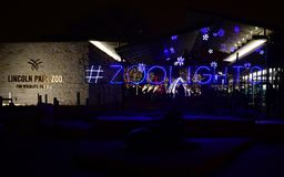 Lincoln Park Zoo Zoolights #1. This is a Winter picture of a holiday exhibit at the entrance of the iconic Lincoln Park Zoo Zoolights located in Chicago royalty free stock photography