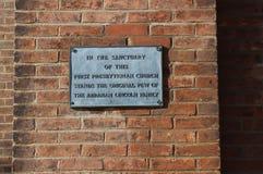 Lincoln Plaque auf erster Presbyterianische Kirche, Springfield, IL Lizenzfreies Stockfoto