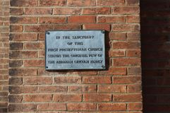 Lincoln Plaque on First Presbyterian Church, Springfield, IL. This plaque announces the affiliation of the Abraham Lincoln family with the First Presbyterian Royalty Free Stock Photo