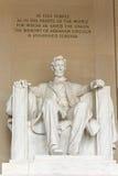 Lincoln pomnik wśrodku widoku i inskrypci Obraz Royalty Free
