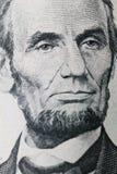 Lincoln-portret op dollar stock fotografie