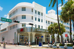 The Lincoln Road Boulevard in South Beach, Miami. MIAMI,USA - MAY 20,2014 : View of the Lincoln Road Boulevard in South Beach near the former Lincoln Theater stock photo