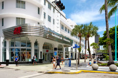Lincoln Road, a famous tourist destination and shopping mall in. MIAMI BEACH, USA - AUGUST 27, 2016 : People and shops at Lincoln Road, a famous tourist Royalty Free Stock Images