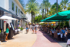 Lincoln Road, a shopping boulevard in Miami Beach Royalty Free Stock Photo