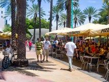 Lincoln Road, a shopping boulevard in Miami Beach Stock Photos