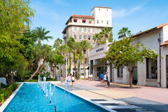 The Lincoln Road Shopping Mall in Miami Beach. MIAMI BEACH, USA - AUGUST 6, 2016 : The Lincoln Road Shopping Mall, a popular destination for tourists and fashion Royalty Free Stock Photos