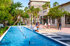 The Lincoln Road Shopping Mall in Miami Beach. MIAMI BEACH, USA - AUGUST 6, 2016 : The Lincoln Road Shopping Mall, a popular destination for tourists and fashion Stock Photography
