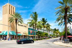 The Lincoln Road Shopping Mall in Miami Beach. MIAMI BEACH, USA - AUGUST 27, 2016 : The Lincoln Road Shopping Mall, a popular destination for tourists and Royalty Free Stock Photos