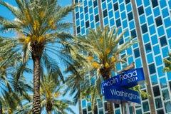 Miami Beach. Lincoln Road and Washington Avenue street signs located in Miami Beach Royalty Free Stock Photo