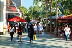 Lincoln Road,a world famous shopping and dining promenade in Mia stock photography