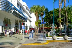 Lincoln Road,a world famous shopping and dining promenade in Miami Beach royalty free stock image