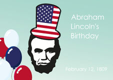 Lincoln's Birthday. Background with President Lincoln. Holiday background. Festive card. Festive vector illustration. Vector illustration. February 12, the Stock Photos