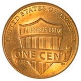 Lincoln Shield une pièce de monnaie de cent Images libres de droits