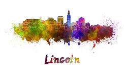 Lincoln skyline in watercolor Royalty Free Stock Photography