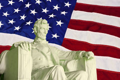 Lincoln statue and flag Stock Images