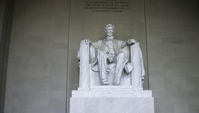 The lincoln statute in washington on the monument. The lincoln statute in washington at the monument Royalty Free Stock Image