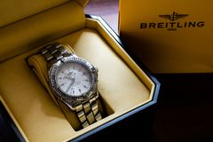 Lincoln, United Kingdom - 08/14/2018: A Breitling Colt Chronometre in its box.  royalty free stock images