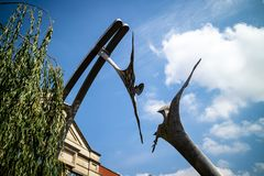 Lincoln, United Kingdom - 07/21/2018: The Empowerment sculpture. That reaches across the river Witham in Lincoln. Designed by Stephen Broadbent royalty free stock image