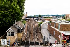 Lincoln, United Kingdom - 07/21/2018: Lincoln City Train Station. During the day, taken from the new walkway that goes over the crossing Stock Photo