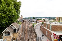 Lincoln, United Kingdom - 07/21/2018: Lincoln City Train Station. During the day, taken from the new walkway that goes over the crossing Royalty Free Stock Photo