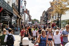 Lincoln, United Kingdom - 07/21/2018: Lincoln High Street during. A busy Summer`s day stock image