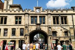 Lincoln, United Kingdom - 07/21/2018: Stonebow Arch in Lincoln o. N a busy summer day royalty free stock photo
