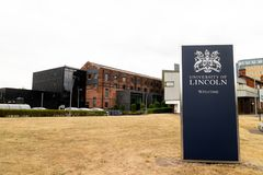 Lincoln, United Kingdom - 07/21/2018: A welcome sign into the u. Niversity of Lincoln stock photography