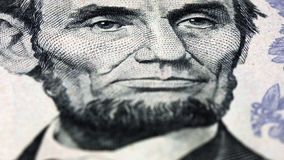 Lincoln US president portrait dollar bill rotating stock video footage