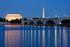 Lincoln y monumentos de Washington, Washington, DC Imagen de archivo libre de regalías