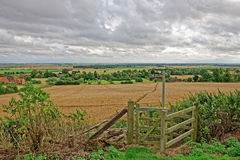 Lincolnshire Fens seen from a hill in the Wolds Royalty Free Stock Photo