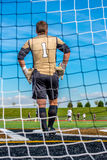 Lincolnway High School Soccer Goalie watching his team win a game Royalty Free Stock Images