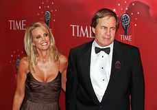 Linda Holliday and Bill Belichick stock photo