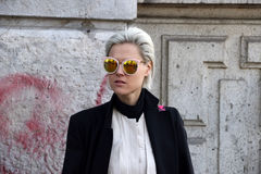 Linda tol Milano,milan fashion week streetstyle autumn winter 2015 2016 stock photo