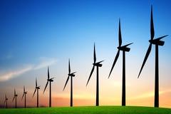 Linda turbiner på solnedgången royaltyfria foton